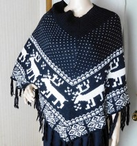 Steve Madden Women's Nordic Poncho - One Size Fits Most - Acrylic/Wool B... - $11.97