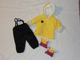 American Girl Girl of Today Yellow Parka Snow Pants Boots Winter Sports Outfit - $41.99
