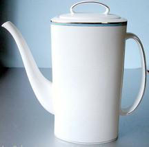 Kate Spade New York Library Lane Aqua Coffee Pot Platinum Trim New In Box - $118.90