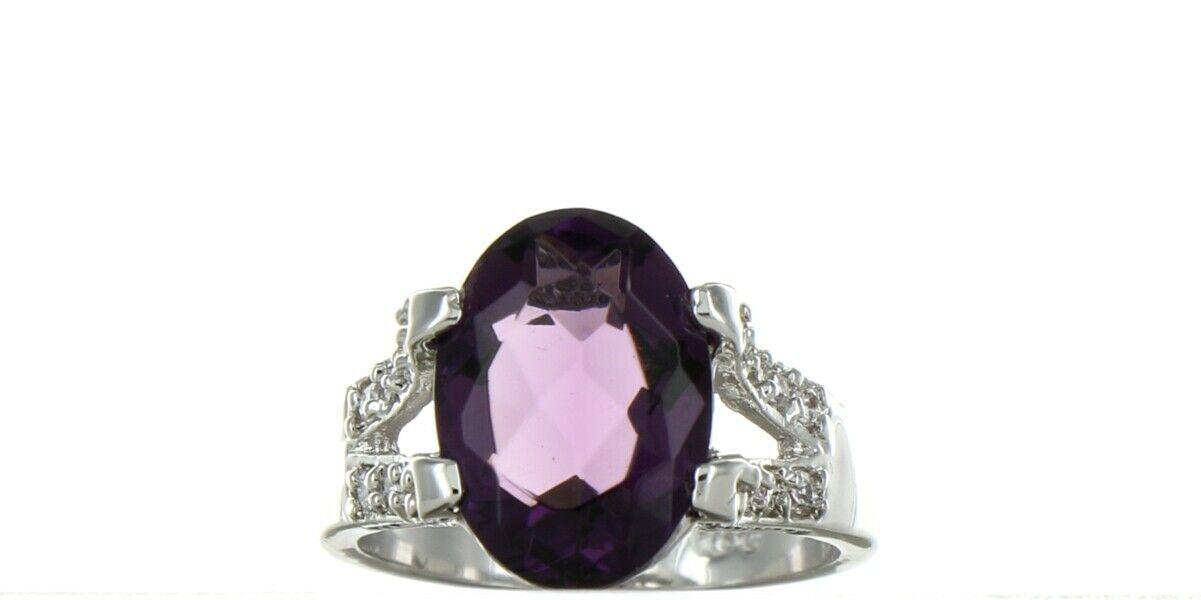 Ladies Size 7.75 Sterling Silver Amethyst Fashion Ring No, 2114