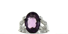 Ladies Size 7.75 Sterling Silver Amethyst Fashion Ring No, 2114 image 1