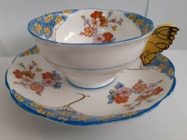 Royal Albert Teacup And Saucer Florette Butterfly Handle *DAMAGED Please... - $47.94