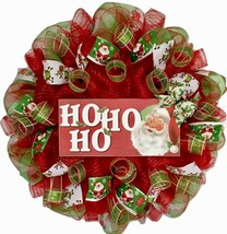 Jolly Ho Ho Ho Santa Christmas Wreath Handmade Deco Mesh - $89.99