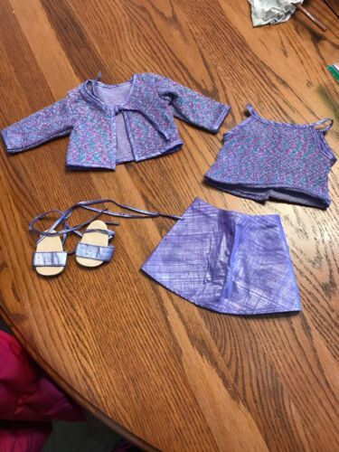 Primary image for Retired American Girl Doll Pleasant Company Purple Sparkle Outfit sandals lot