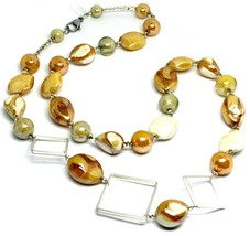 NECKLACE ORANGE WHITE ROUNDED DROP SPHERE, EXAGON MURANO GLASS SQUARE, 80cm LONG image 1