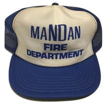 Vtg Mandan Fire Department Trucker Hat North Dakota Cap Firefighting Blu... - $29.69