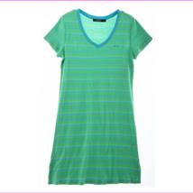 Lauren Ralph Lauren V-Neck Sleep-shirt in Green Stripes, XS - $14.30