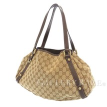 GUCCI Shoulder Bag GG Canvas Leather Beige Brown 130736 Italy Authentic ... - $358.46