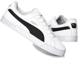 PUMA Mens Smash Vulc Leather Trainers Shoes 359622-10 White / Peacoat - $59.78