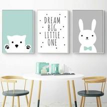 Almudena® Bear Rabbit Posters And Prints Woodland Animal Cartoon Canvas - $5.60+