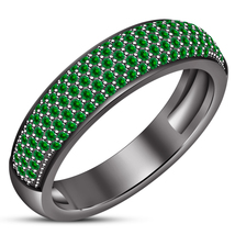 Green Sapphire Black Gold Plated Solid 925 Silver Engagement Women's Ban... - $88.97