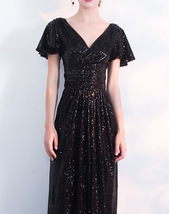 BLACK Sleeved High Waist Maxi Sequin Dress Floor Length Sequin Wedding Dresses image 5