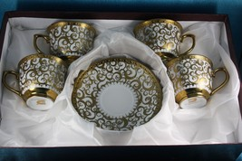 Porcelain Espresso Tea Cups and Saucers  Gold Gilt Scroll  Imported  Set... - $46.39