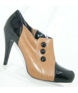 Steven by Steve Madden 'Chapp' brown leather black patent bootie heels 8.5M - $31.43