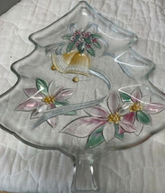 Christmas Tree Glass Serving Dish 13 1/2 Bells Poinsetta - $17.82