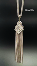 Vintage Monet Pendant and Earring Set with Chain Tassel and Art Deco Style - $32.00