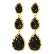 Amrita Singh Gold Black Hampton Star Crystal Tear Drop Earrings ERC 98 NWT  - $21.29