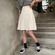 Women Black Pleated Skirt Outfit Plus Size Black Tennis Skirt image 6