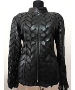 Black Leather Leaf Jacket Women All Colours Sizes Genuine Lambskin Zip S... - $150.00