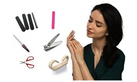 Manicure Pedicure Combo Set Nail Care Brush Cuticle Trimmer Scissor - $14.95
