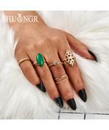 SHUANGR 9Pcs/Set Vintage Star Stone Crystal Ring Flower Heart Crown Carv... - $11.74