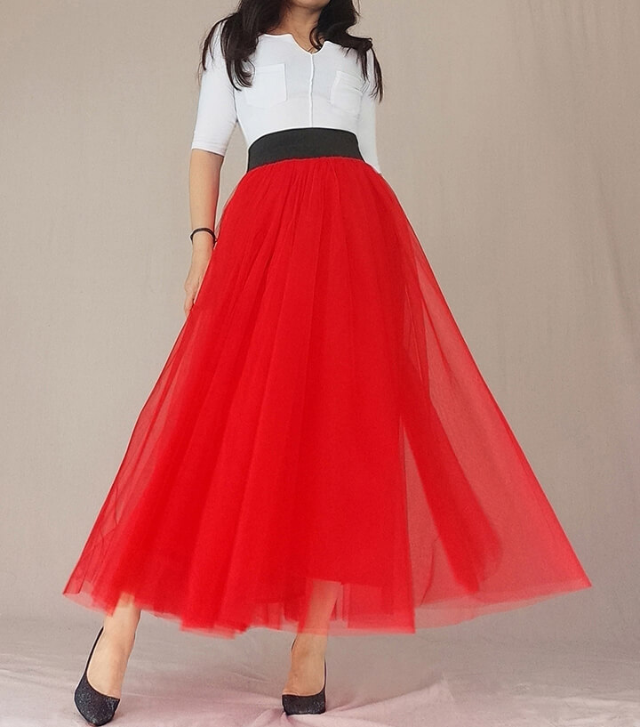 A Line Long Tulle Skirt High Waisted Red Long Tulle Skirt Puffy Tutu Pockets