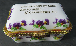 "IMPERIAL PORCELAIN Trinket Box ""For We Walk by Faith, Not..."" Gold Trim ... - $20.00"