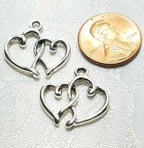 DOUBLE HEART FINE PEWTER PENDANT CHARM - 20mm L x 20mm W x 2.5mm D image 3