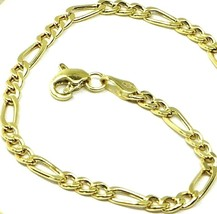 9K GOLD BRACELET FIGARO GOURMETTE ALTERNATE 3+1 FLAT LINKS 3mm, 19cm, 7.5 INCHES image 1