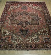 8x11 Red Heriz Wool Handmade Rust Worn-out Antique over 100 y o Persian Rug image 10