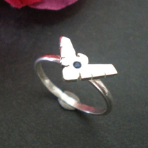 Handmade 925 Sterling Silver Night Wing Geek Ring with Blue Stone - $42.00