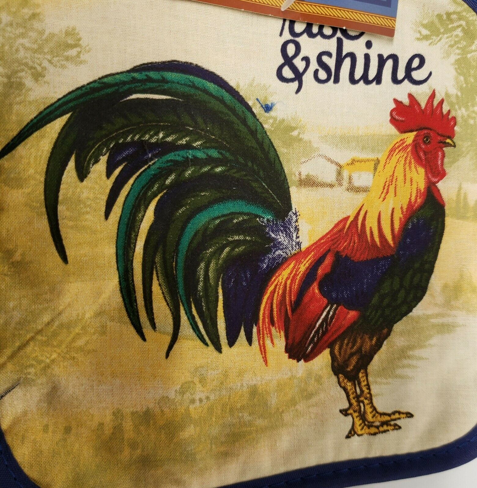"""2 PRINTED Kitchen Pot Holders, ROOSTER, RISE & SHINE, 7"""" x 7"""", blue back, by GR"""