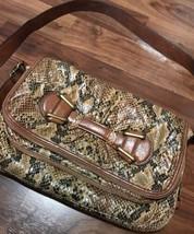 Jessica Simpson Snakeskin Animal Print Purse Bag Orange Lining Small - $19.79