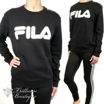 Fila French Terry Crewneck Sweatshirt Black with Fila Logo Large Athleis... - $69.27
