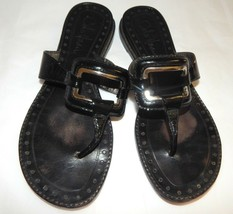 Cole Haan Women Black glossy patent LEATHER Sandals flip flops womens sz... - $7.91