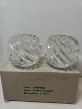 PartyLite ILLUSIONS Swirl Glass Votive Pair Candle Holders P0463 NIB - $10.99