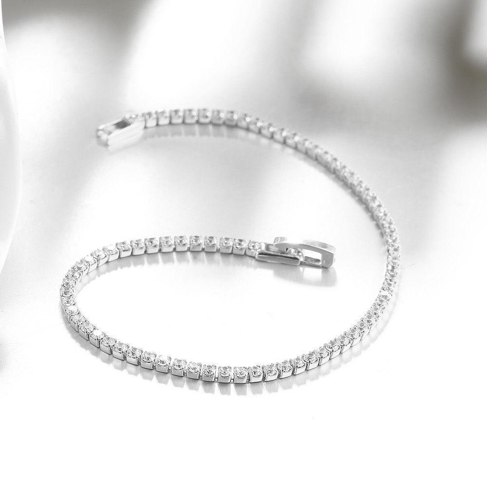 Swarovski Elements Crystal Tennis Silver Tone Bracelet