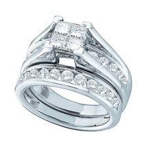 14kt White Gold Princess Diamond Bridal Wedding Engagement Ring Set 2.00 Ctw - $2,798.00