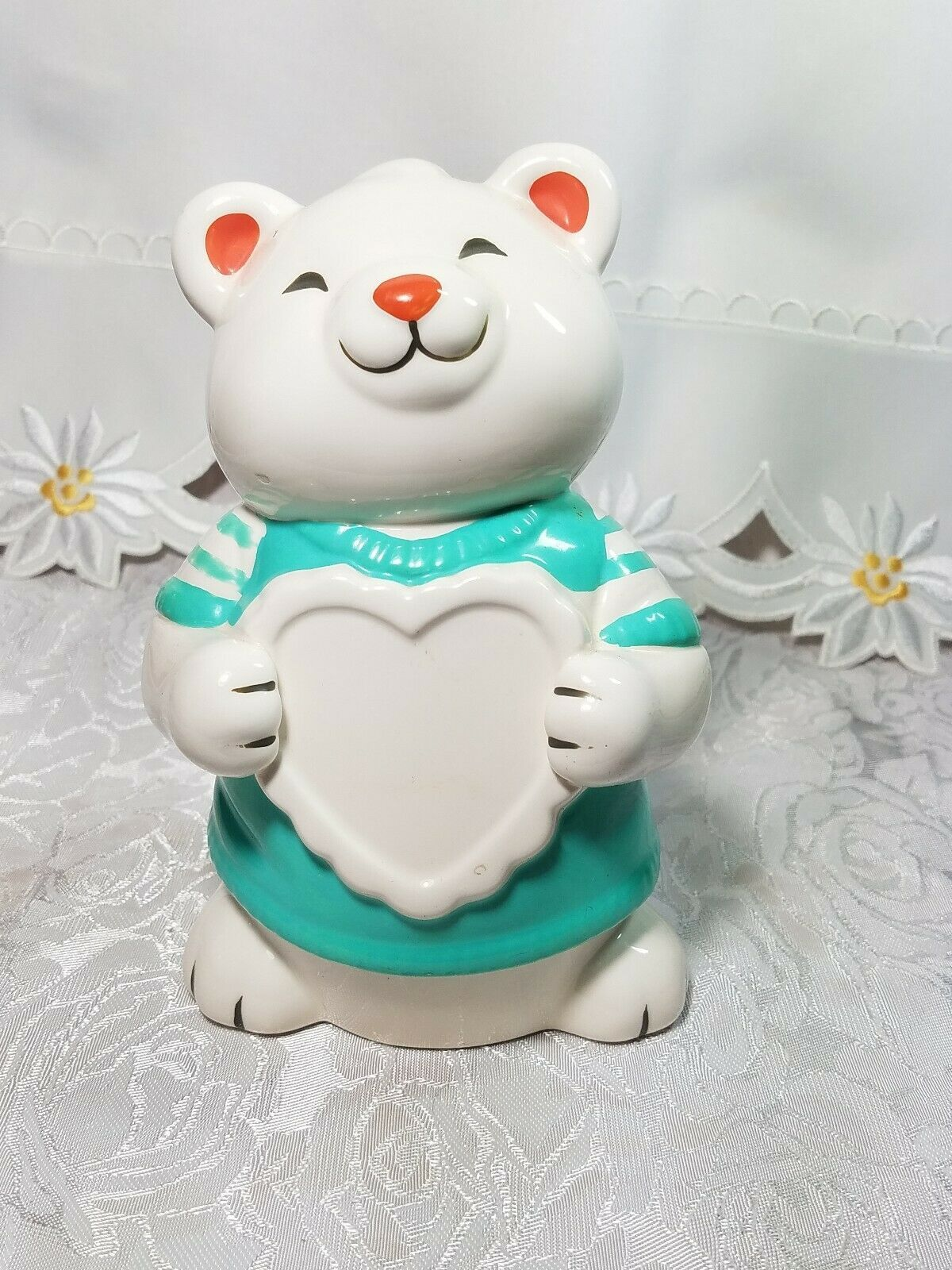 Vintage Teddy Bear Bank Figurine White Heart Hand Painted Ceramic