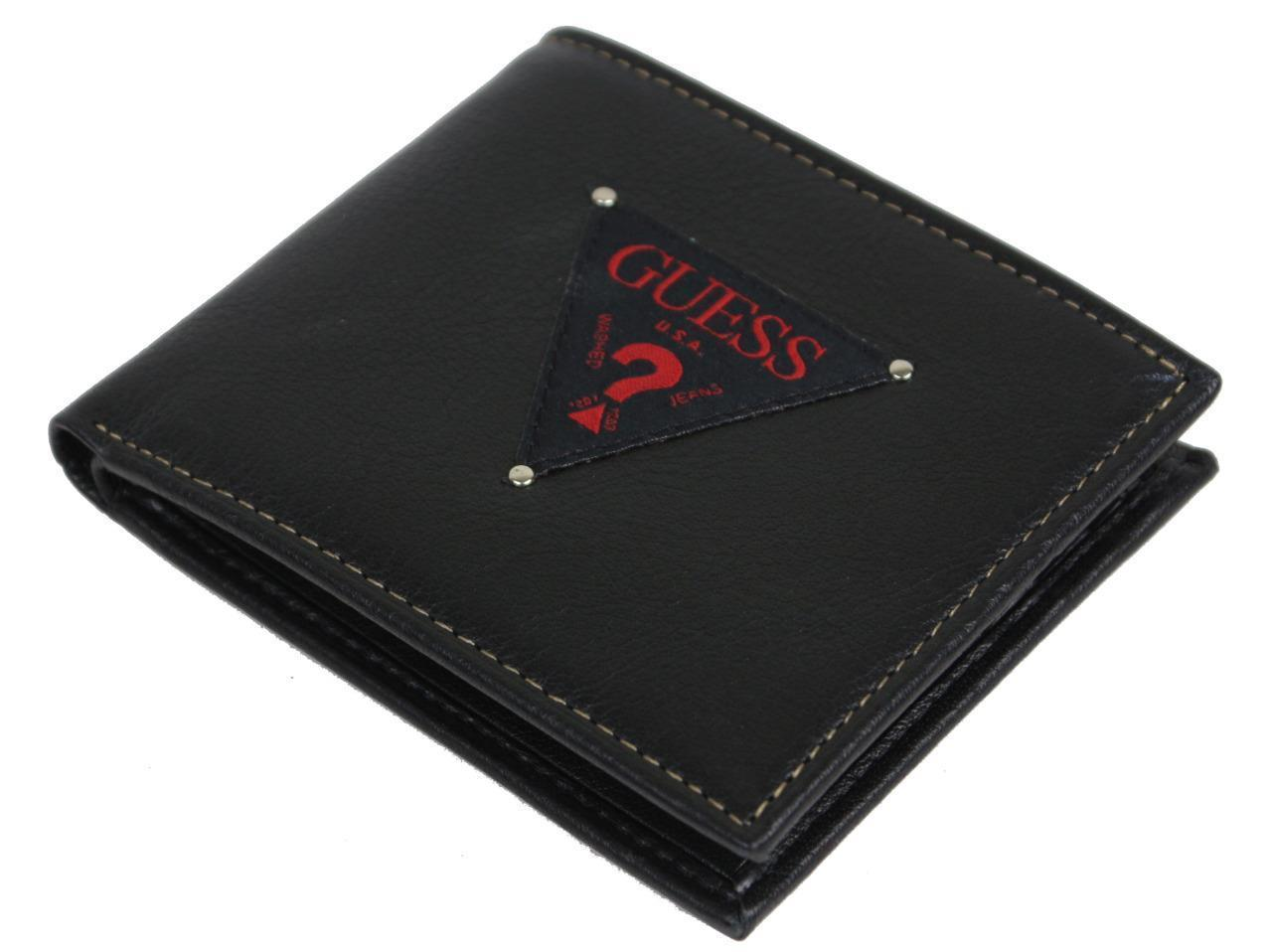 NEW GUESS MEN'S LEATHER DOUBLE BILLFOLD CREDIT CARD WALLET BLACK 31GU13X048