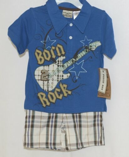 Little Rebels Boys Two Piece Born 2 Rock Shirt Shorts Outfit 12 Months