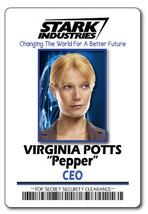 VIRGINIA PEPPER POTTS STARK INDUSTRIES NAME BADGE HALLOWEEN COSPLAY PIN ... - $13.85