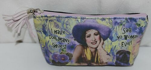 GANZ Brand Shari Jenkins Design I Have Too Many Shoes Purple Hat Lady Makeup Bag
