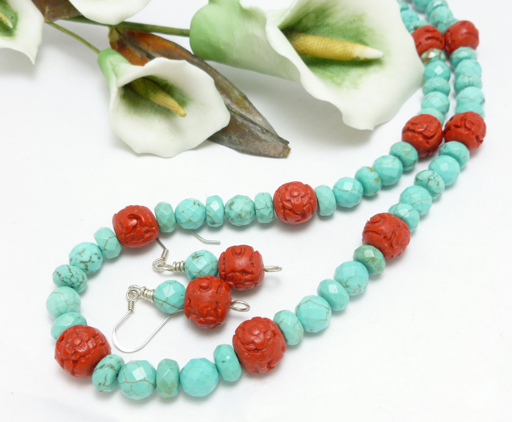 Turquoise Magnesite Red Faux Cinnabar Beaded Necklace Earring Set