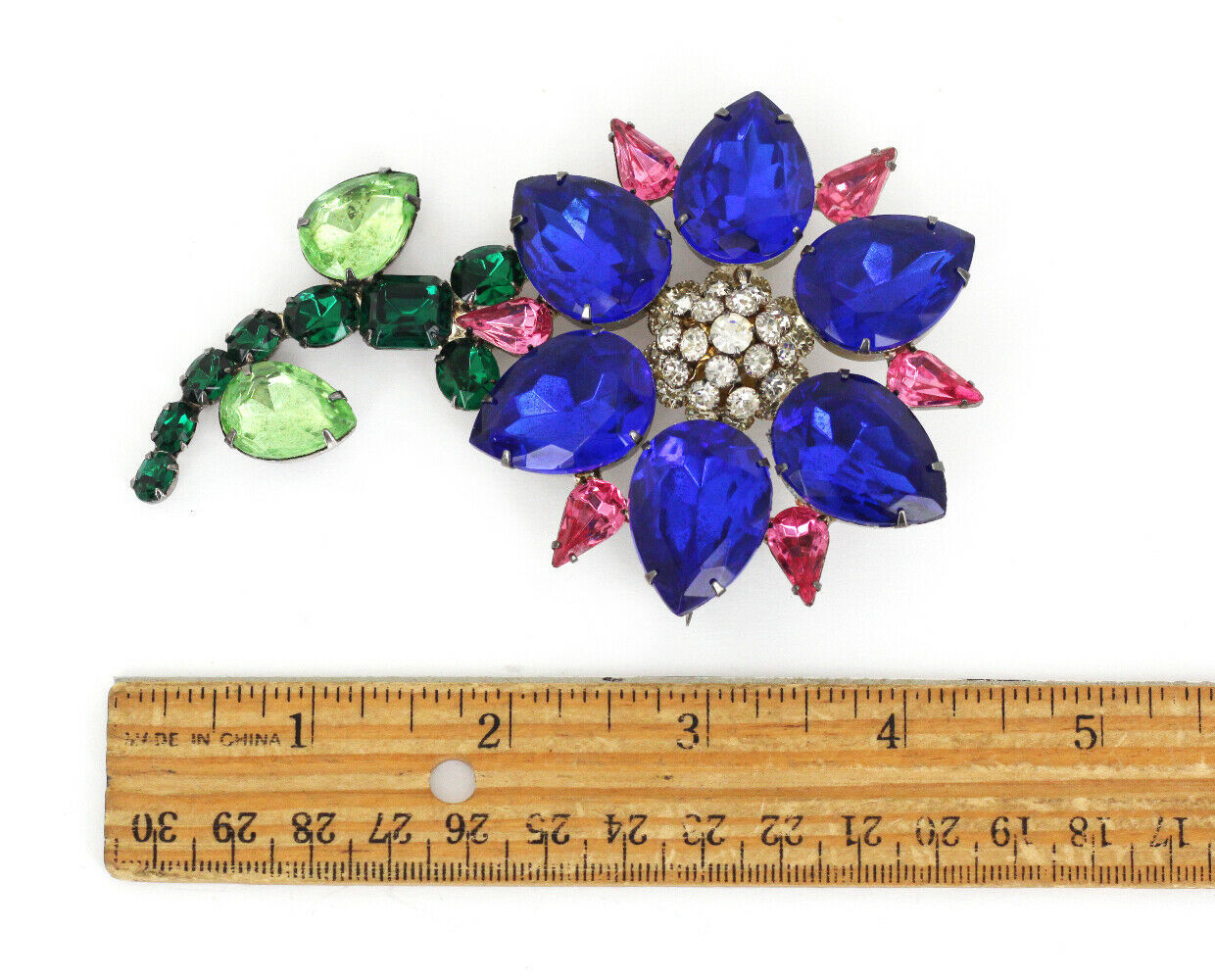 Primary image for Vintage Schreiner Attributed Sterling Silver Plated Rhinestone Flower Pin 4.75""