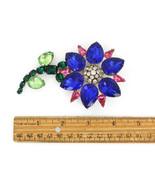 Vintage Schreiner Attributed Sterling Silver Plated Rhinestone Flower Pi... - $404.99