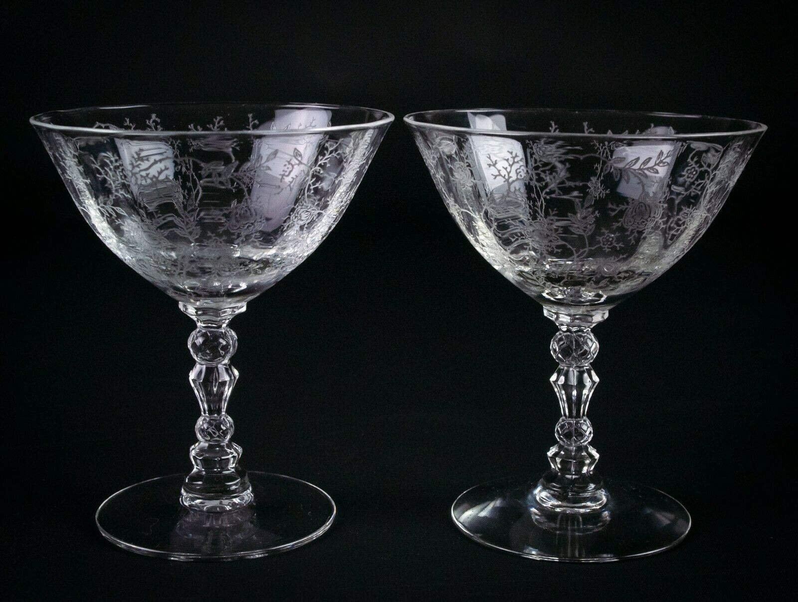 Primary image for Fostoria Chintz Low Sherbet Glasses 2 pc Set, Vintage Elegant Etched Champagne