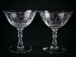 Fostoria Chintz Low Sherbet Glasses 2 pc Set, Vintage Elegant Etched Cha... - $14.70