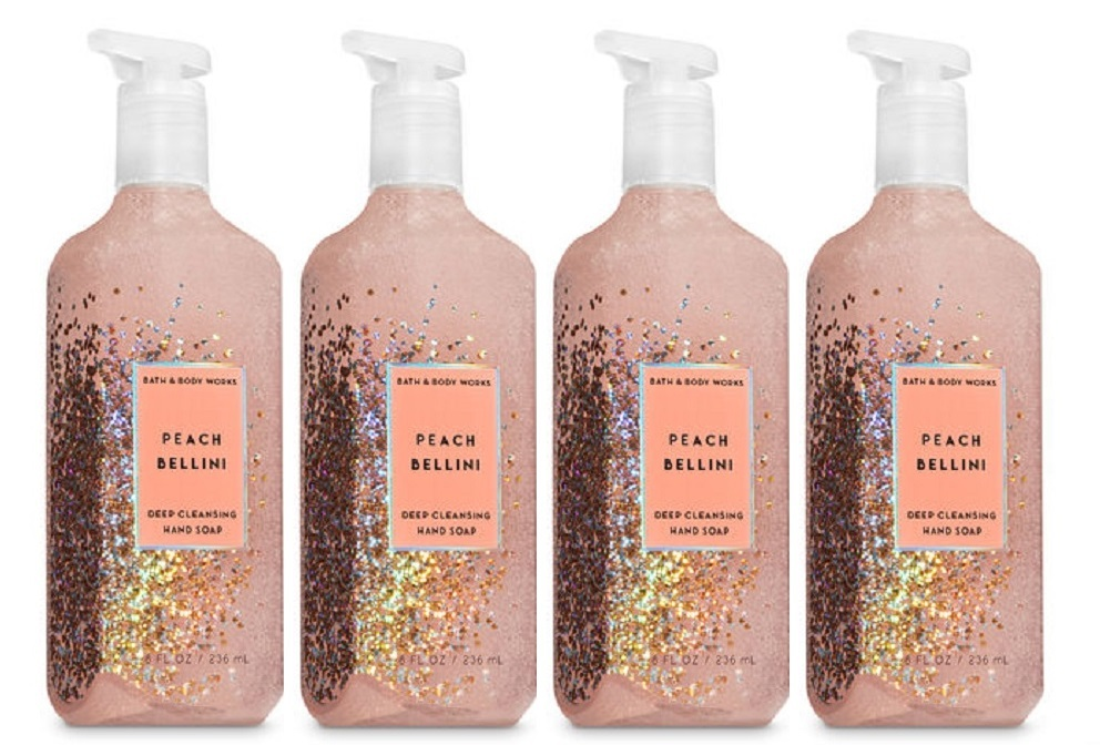 Primary image for Bath & Body Works Peach Bellini Deep Cleansing Hand Soap  - Lot of 4
