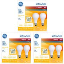 GE Soft White 3-Way 50/100/150 Watt A21 Light Bulb 6-Pack
